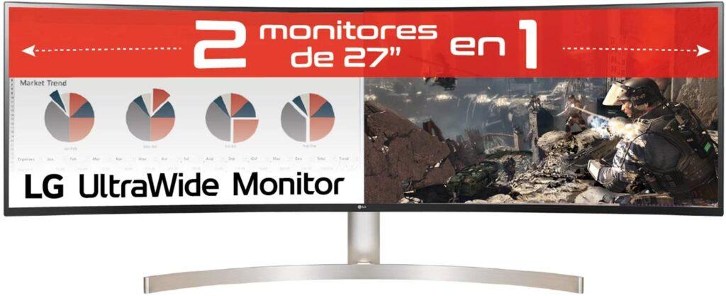 Monitor para Trading LG 49 pulgadas equivalente a dos monitores de 27 pulgadas