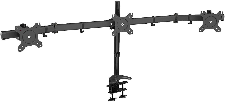 soporte de acero para 3 pantallas simultáneas en una estación de trabajo